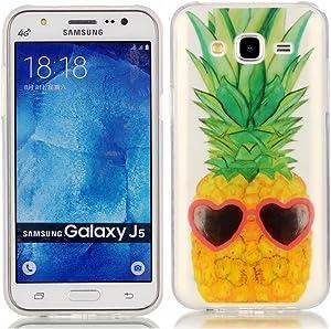 EarthNanLiuPowerTu Samsung Galaxy J5 2015 Carcasa, Silicona Suave TPU Funda Crystal Clear Premium Anti Slip Cover Resistente a los arañazos Funda para Samsung Galaxy J5 (piña)