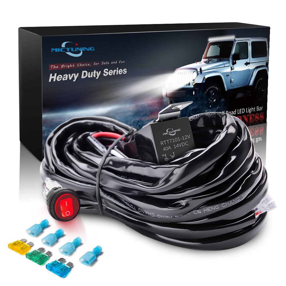 Amazon.com: MICTUNING HD 300w LED Light Bar Wiring Harness Fuse 40Amp Relay  ON-OFF Waterproof Switch(1Lead): Automotive
