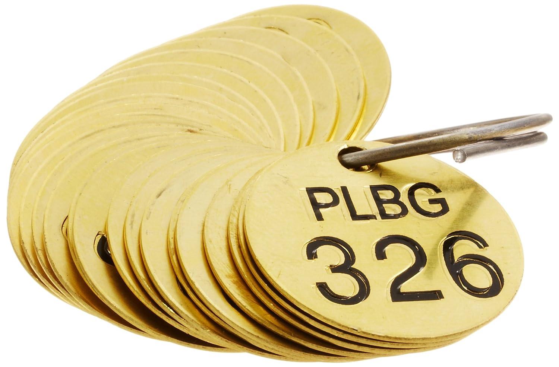 25 per Package Brady 234411 1//2 Diameter Stamped Brass Valve Tags Numbers 326-350 LegendPLBG