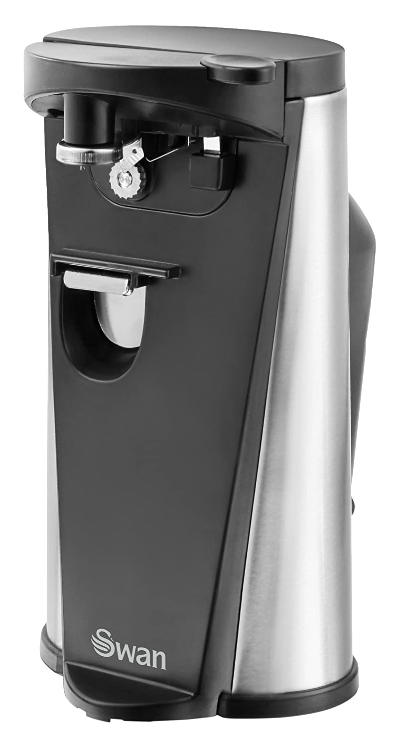Swan SP20110N Electric 3-in-1 Can Opener, Including Knife Sharpener and Bottle Opener, 60 Watt