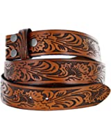 Western Embossed Black Brown Leather Belt Strap w/ Snaps for Interchangeable Buckles