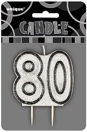 Unique Party Vela de 80 cumpleaños, Color Negro Brillante ...