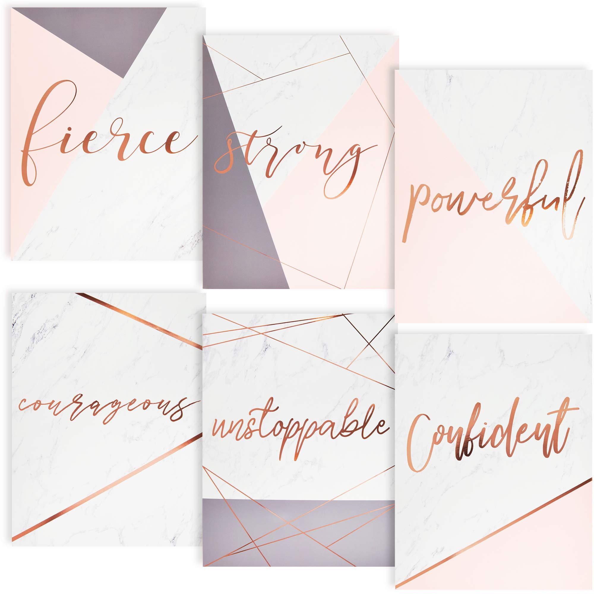 Paper Junkie Pocket Folders with Rose Gold Foil Motivational Sayings (12 Pack), 6 Designs by Paper Junkie