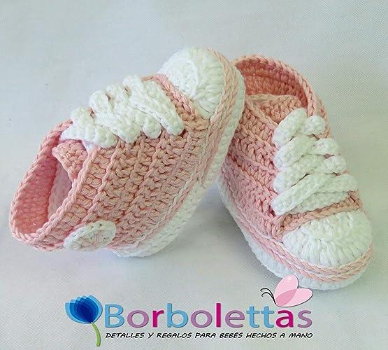 Patucos para Bebé Recién Nacido, tipo Converse, 0-3 meses Rosa Claro ...