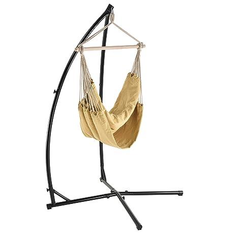 [casa.pro] Hamaca XXL con soporte (130 x 140 cm) (crema) silla colgante sillón colgante