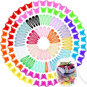Selizo 80 Pcs Hair Clips Barrettes with 100 Pcs Small Butterfly Hair Clips for Girls Women Hair Accessories