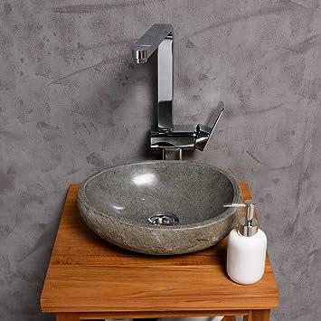 Aufsatzwaschbecken gäste wc oval  Amazon.de: WOHNFREUDEN Naturstein Waschbecken rund oval 30 cm ...