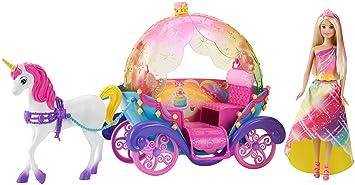 Mattel barbie dyx31 bonbon prinzessin einhorn und - Barbie caleche ...