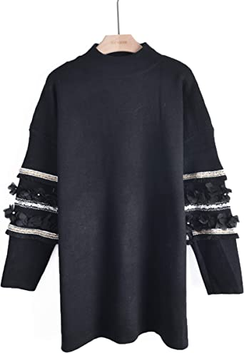Floral sequin crystal Stone diamond embellished Sleeves knitted jumper dress