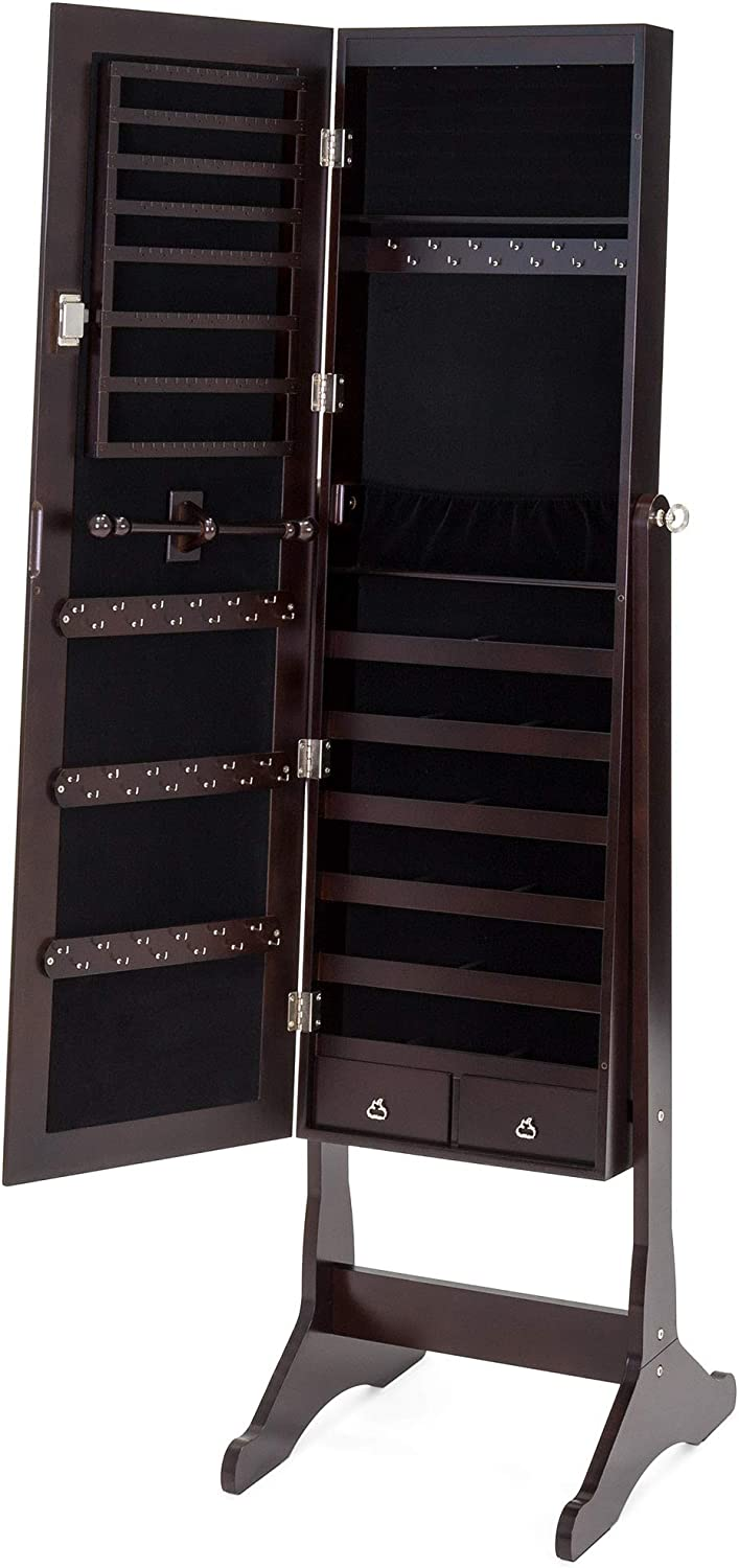 White Best Choice Products 6-Tier Standing Mirror Lockable Storage Organizer Cabinet Armoire w//LED Lights