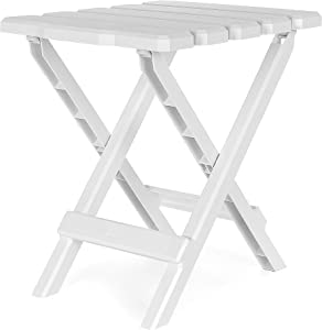 Camco Adirondack Portable Outdoor Folding Side Table - Perfect for The Beach, Camping, Picnics, Cookouts and More - Weatherproof and Rust Resistant - White (21035)