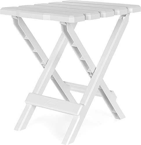 Camco Adirondack Portable Outdoor Folding Side Table – Perfect for The Beach, Camping, Picnics, Cookouts and More – Weatherproof and Rust Resistant – White 21035