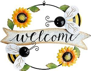 YUMBOR Metal Hanging Sunflower Welcome Sign,16''x12'',Vintage Sunflower Hanging Decor Front Door Wreath Garden Shop Welcome Sign Indoor Outdoor Decoration (Bee)