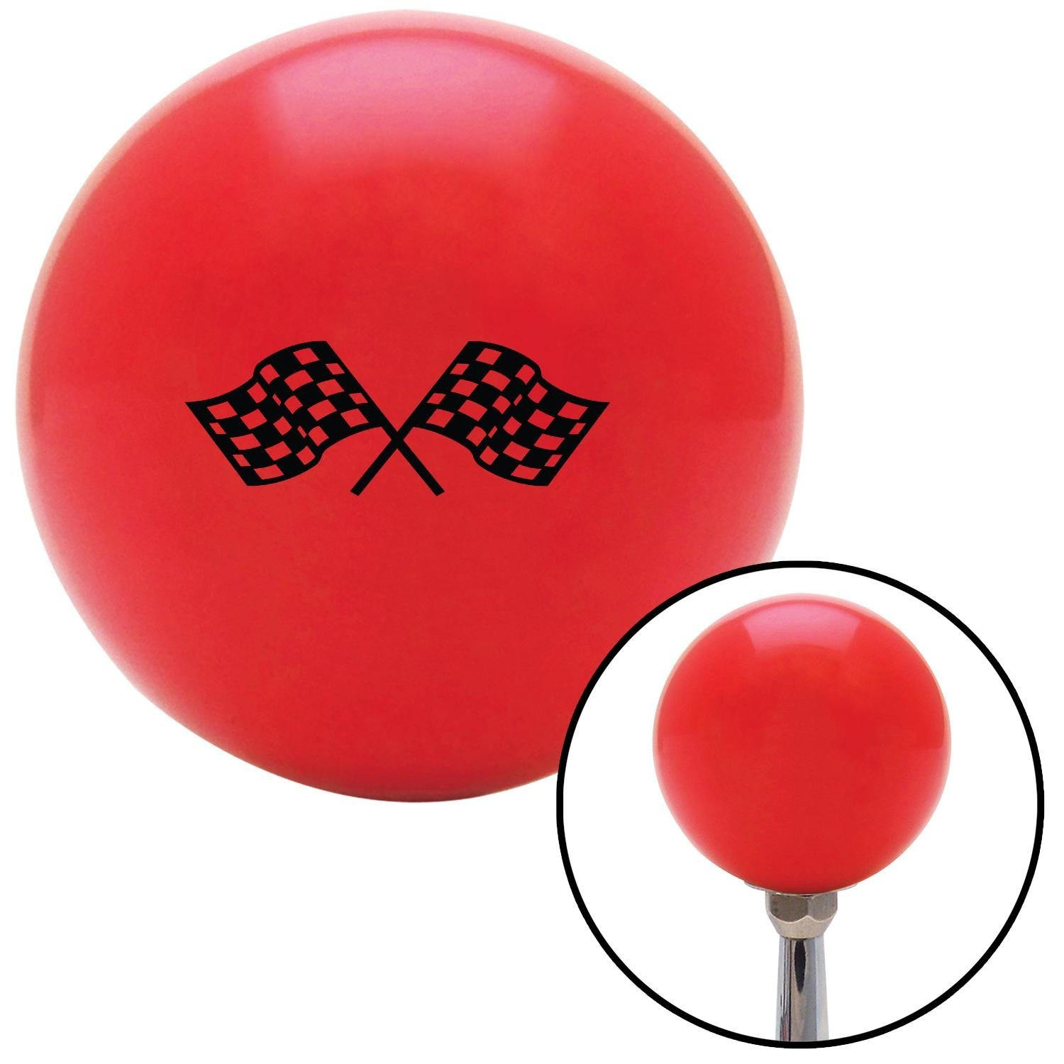 American Shifter 94287 Red Shift Knob with M16 x 1.5 Insert Black Checkered Racing Flags