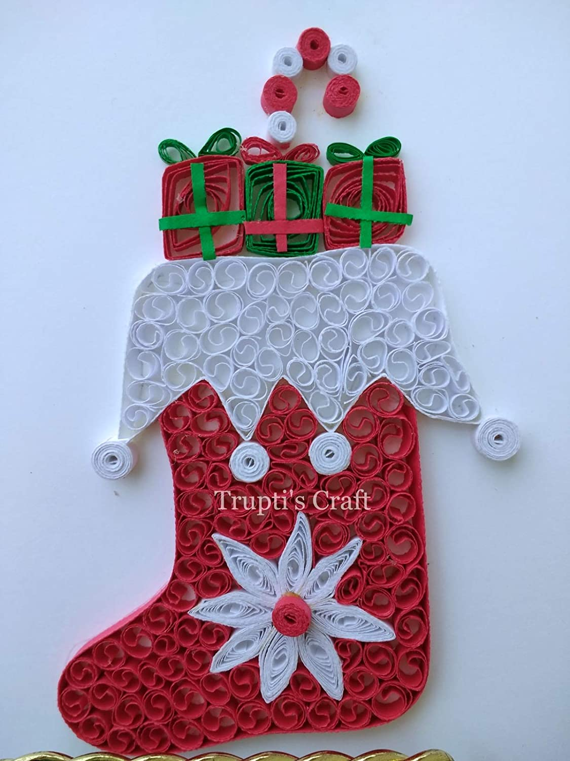 Amazon Com Paper Quilling Christmas Stocking Greeting Card Wall