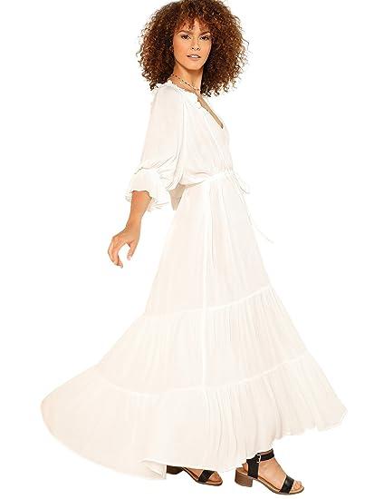 e51910efdc2 Amazon.com: Milumia Women's Bohemian Drawstring Waist Lace Splicing White  Long Maxi Dress Small Beige: Clothing