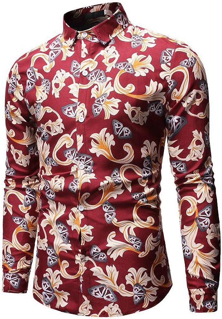 Pandaie Mens Long Sleeve Shirt Pattern Stand Collar Button Business Shirt Party Wedding Dress Shirt Classic Blouse