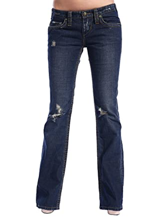 Stitch's Women's Ripped Thigh Bootcut Jeans Dark Wash Trouser ...