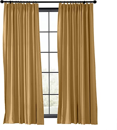 TWOPAGES Blackout Thermal Insulated Pinch Pleated Curtain Wide Width Curtain Flame Retardant Fire Resistant Kitchen Curtain Khaki