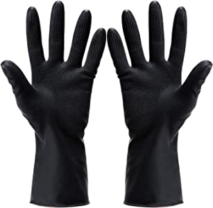 Hair Dye Gloves,Professional Hair Coloring Accessories for Hair Salon Hair Dyeing,Acid and alkali resistant gloves black latex gloves,2pcs(1 left+1 right),black