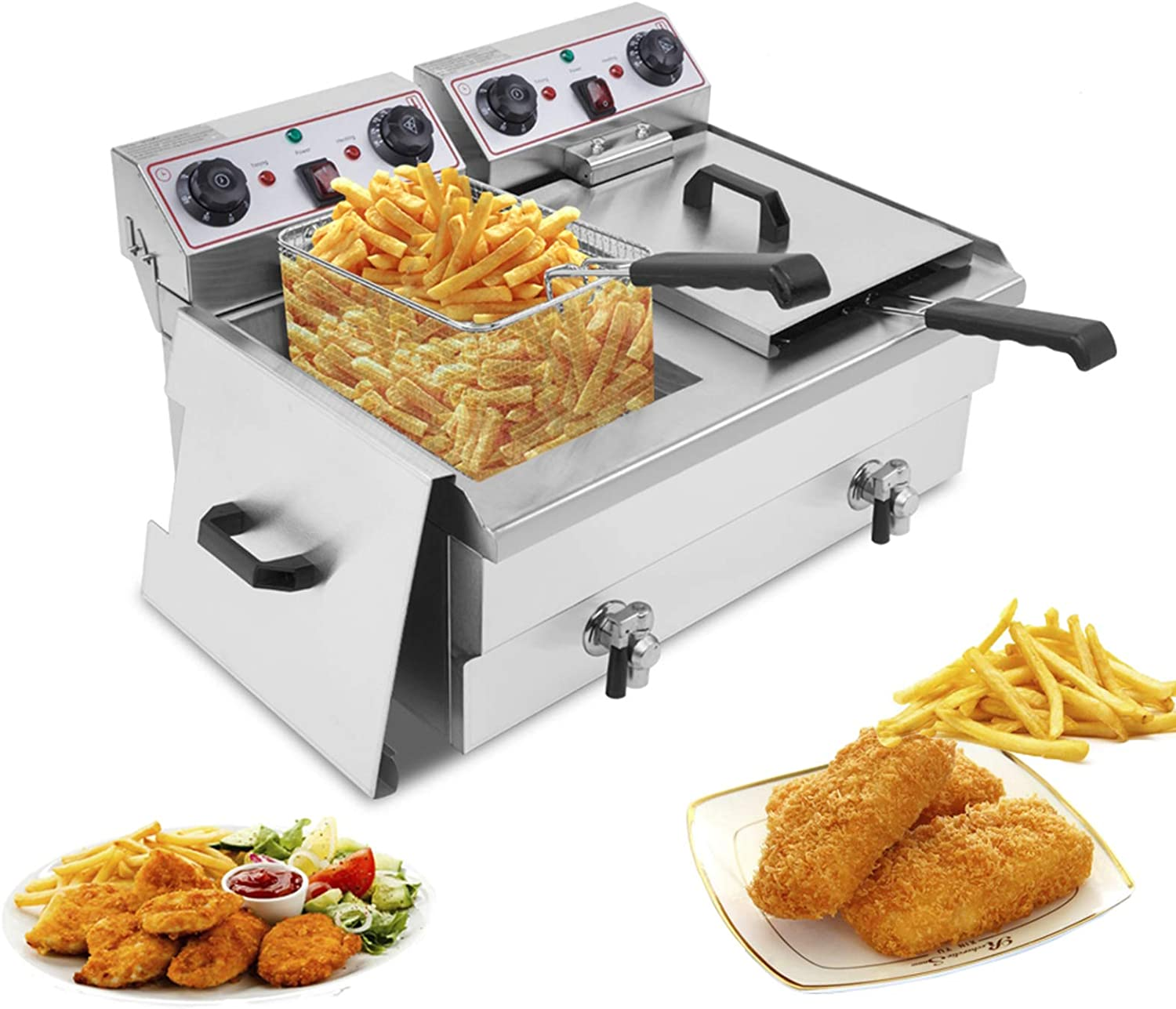16.9QT / 16L Stainless Steel Faucet Double Tank Deep Fryer 3400W French Fry Deep Fat Fryer with Basket, Total Capacity 24.9QT/23.6L (16L)