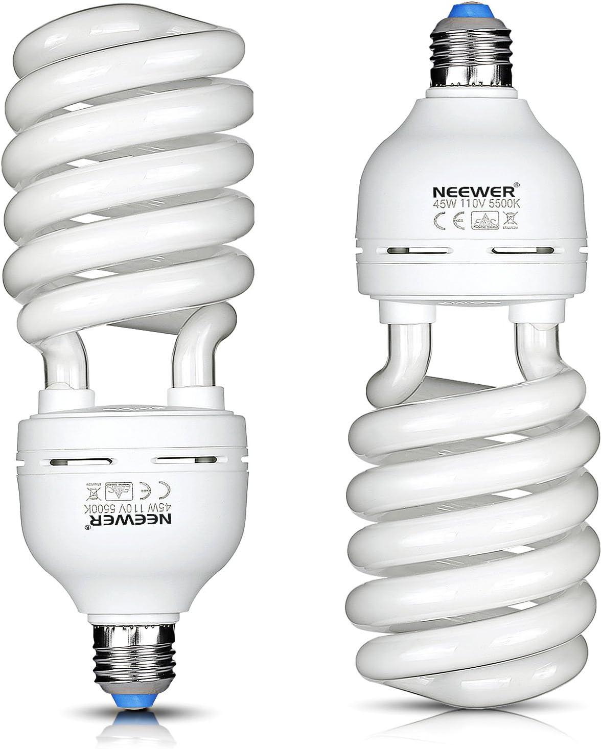 Neewer 45W 110V 5500K Tri-phosphor Spiral CFL Daylight Balanced Light Bulb in E27 Socket for Photo and Video Studio Lighting 2 Pack