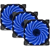 uphere 3-Pack Long Life Computer Case Fan 120mm Cooling Case Fan for Computer Cases Cooling 15LED Blue