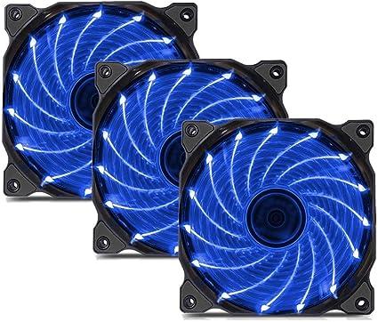 uphere 3-Pack Long Life Computer Case Fan 120mm Cooling Case Fan for Computer Cases Cooling 15LED Blue,15B3-3