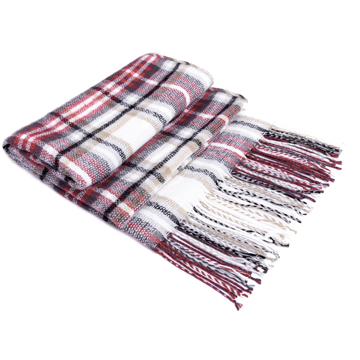 Women\'s Winter Scarf Tartan Tassel Plaid Shawl Large Warm Soft Chunky Square Scarf Wrap Blanket (New-002)