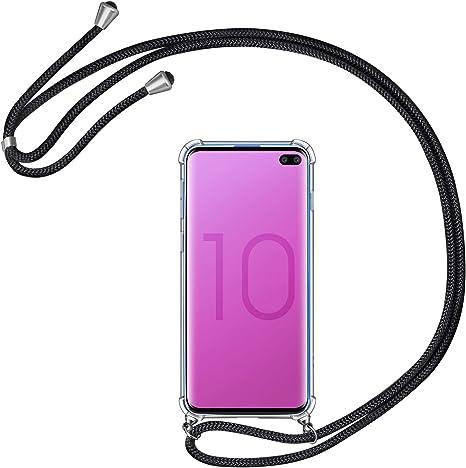 AROYI Funda con Cuerda para Samsung Galaxy S10 Plus, Carcasa Transparente TPU Silicona Case con Colgante Ajustable Collar Correa de Cuello Cordón para Samsung Galaxy S10 Plus, Negro: Amazon.es: Electrónica