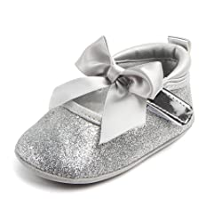 Elaco Infant Baby Girls Moccasins Anti-Slip Soft Sole Princess Shoes (12~18 Month, Silver)
