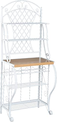 Trellis Bakers Rack w Scroll Work – White Metal Frame Oak Finish Shelf – Chic Design