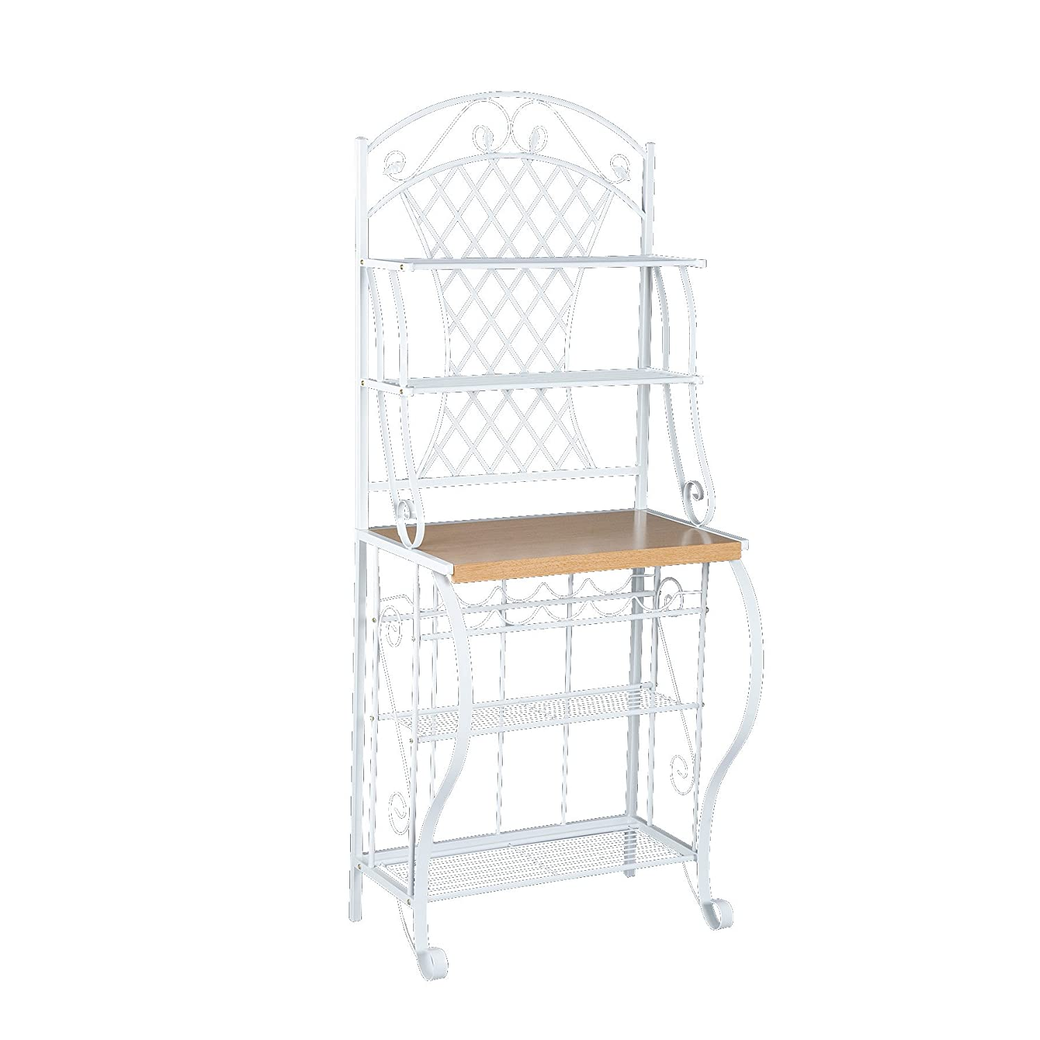 Southern Enterprises Durable Metal Framed Bakers Rack and Kitchen Storage Unit with Decorative Arch, 70 x 42 x 172 cm, White Inc. BE1233 59-027-006-4-40