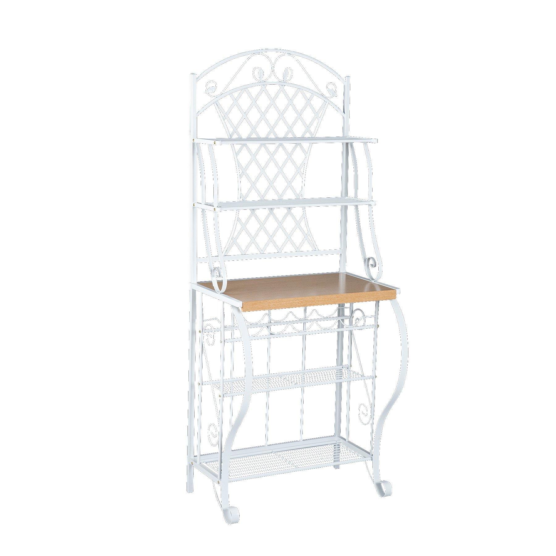 Trellis Bakers Rack w/ Scroll Work - White Metal Frame & Oak Finish Shelf - Chic Design by SEI