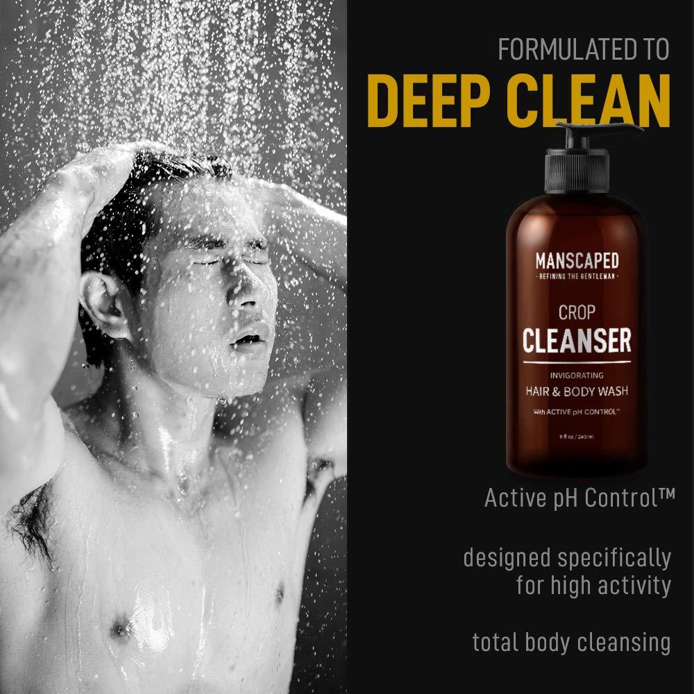 Manscaped Crop Essentials, Male Care Hygiene bundle, Includes Invigorating Body Wash, Moisturizing Ball Deodorant, High performance body Toner pH balanced plus FREE Disposable shaving mats
