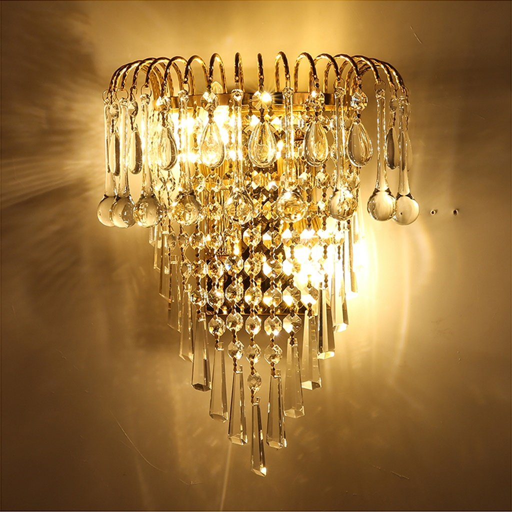 MILUCE Luxury k9 crystal wall lamp European creative living room lights gold led bedside lamps