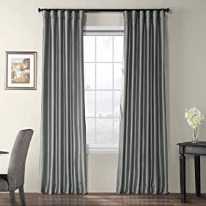 Half Price Drapes PTCH-BO112-96 Blackout Faux Silk Taffeta Curtain, Platinum