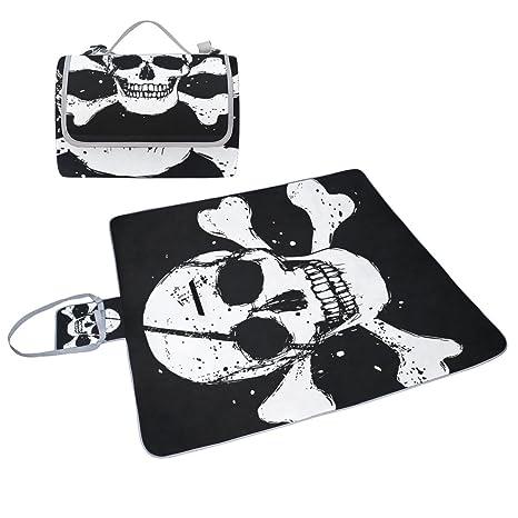 COOSUN Manta de picnic con bandera pirata negra, práctica ...