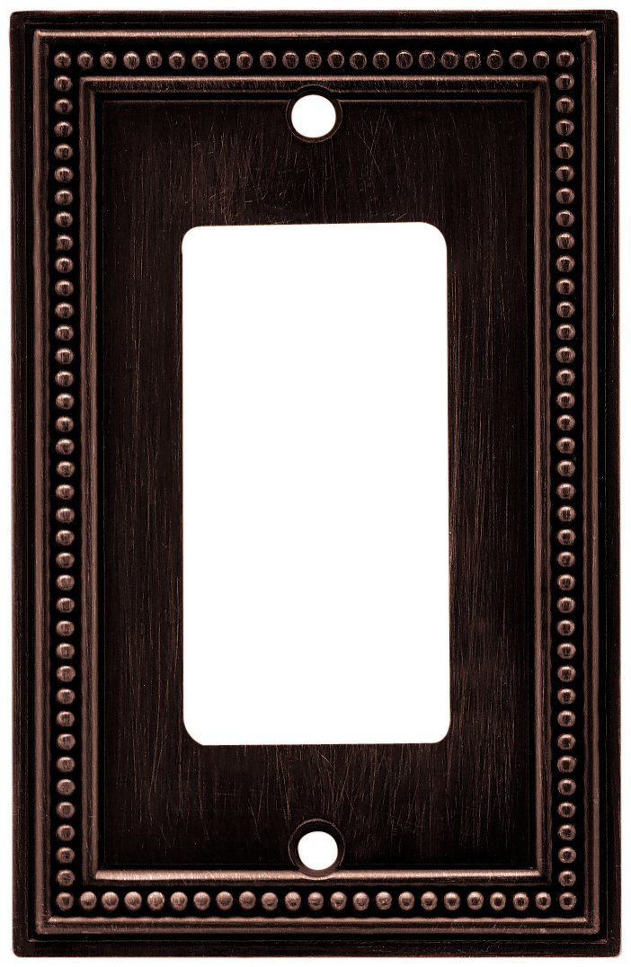 Brainerd 64405 Beaded Single Decorator Wall Plate / Switch Plate / Cover, Venetian Bronze