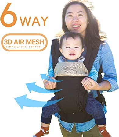 32583ca95a0 Amazon.com   360 Ergonomic Baby Carrier - All Season Baby Sling - 6 ...
