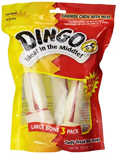 Dingo Rawhide Bone, 3-Count, Large Pack of 2