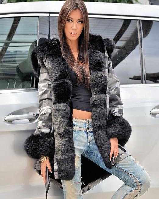 Aofur Elegante Mujer Invierno Abrigo Capa Ropa Camuflaje Calentar Encapuchado Chaqueta Anorak Parka para Mujer