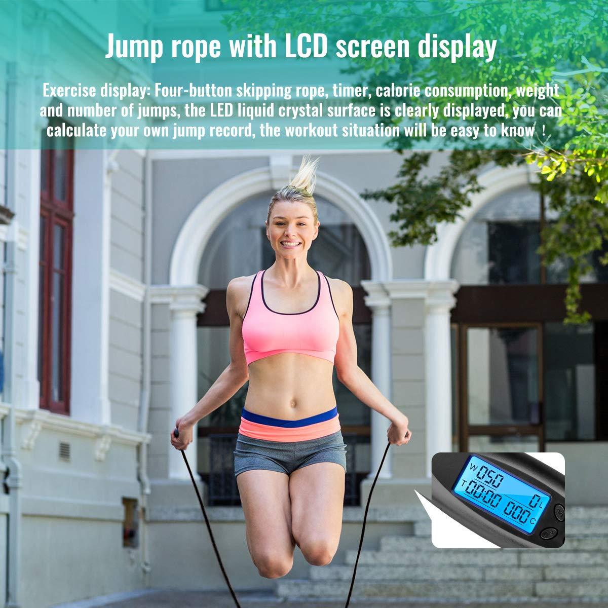 Verstellbare Digitale Drahtlose Seilspringen mit Kalorienz/ähler f/ür Training und Fitness VANWALK Springseile