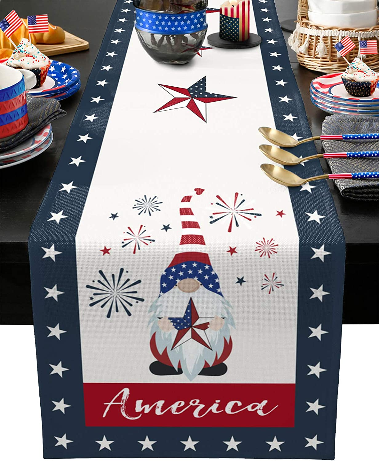 Cloud Dream Home Cotton Linen Table Runner Gnome Hold American Star Flag Pattern Table Setting Decor Patriotic Fireworks for Garden Wedding Parties Dinner Decoration - 13 x 70 inches