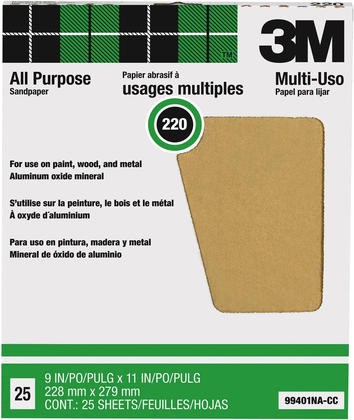 3M Pro-Pak Aluminum Oxide Sheet for Paint and Rust Removal 9-Inch by 11-Inch 25 sheets 220-Grit