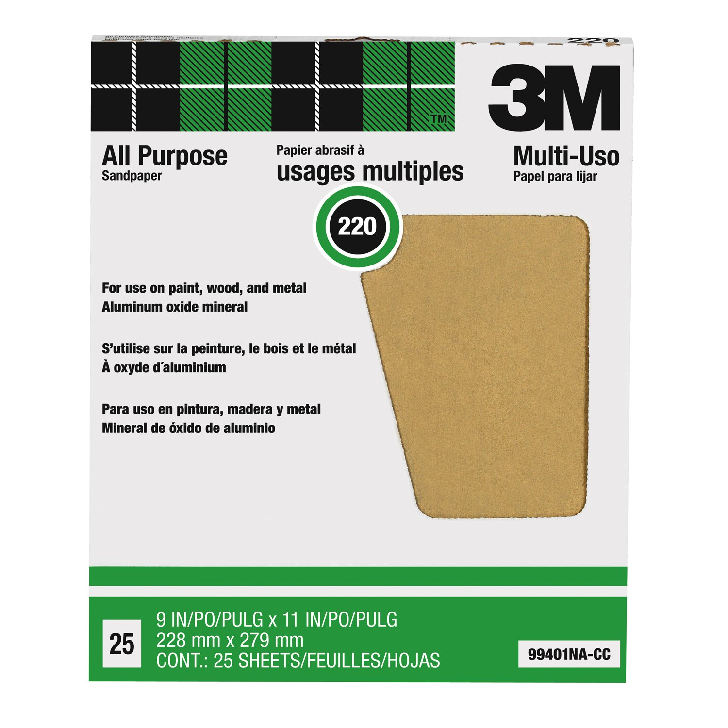 3M Pro-Pak Aluminum Oxide Sheet for Paint and Rust Removal, 25 sheets, 220-Grit, 9-Inch by 11-Inch