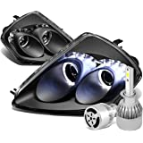 Mit Eclipse 3G Pair of Angel Eyes Dual Halo Projector Black Housing Headlight + H1 LED Conversion Kit W/ Fan