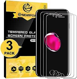 NEARPOW [3 Pack] Mica Protector de Pantalla para iPhone 8/7 Plus Vidrio Cristal Templado