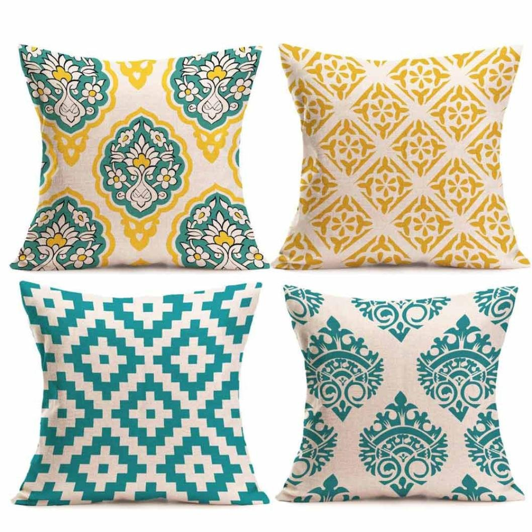 4PC Pillow Cases Linen Sofa Print Cushion Cover Hidden Zipper Home Decor (C) by Napoo