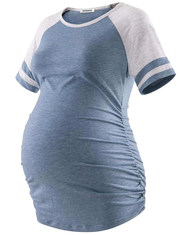 GINKANA Maternity Shirt Color Block Half Sleeve T Shirt Casual Round Neck Summer Tunic Tops